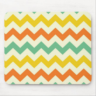 Citrus Lime Green Orange Yellow Chevron Zigzags Mouse Pads