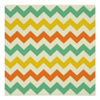 Citrus Lime Green Orange Yellow Chevron Zigzags Posters