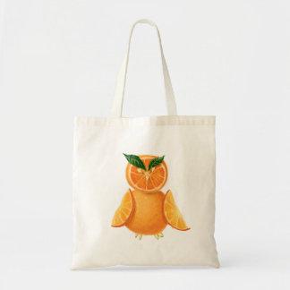 Citrus orange owl budget tote bag
