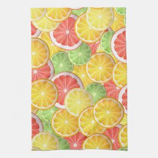 Citrus pattern - grapefruit, lemon, lime, orange hand towel