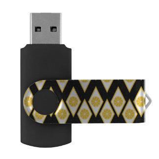 Citrus Slices in Modern Diamond Pattern Swivel USB 2.0 Flash Drive