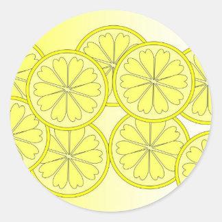 Citrus slices on trend bright color classic round sticker