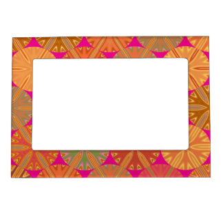 Citrus Slices Pink Abstract Magnetic Picture Frame