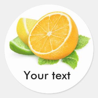 Citrus slices round sticker