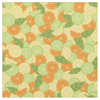 Citrus Slices with Leaves Fabric