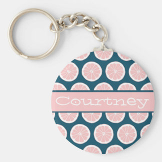 Citrus Slices with Personalized Nameplate Key Ring