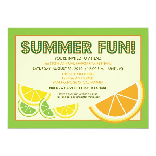 Citrus Summer Fun Cookout Invitation (green)