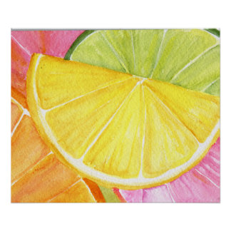 Citrus Watercolor Painting, Lime, Lemon, Orange Poster