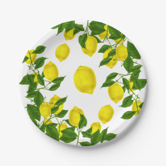 Citrus Yellow Lemon Green Leaves Wedding Party Paper Plate