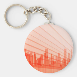 City Abstract Background Basic Round Button Key Ring