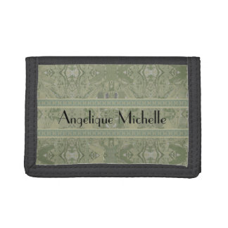 City Abstract in Olive Green with Your Name Trifold Wallets