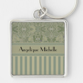 City Abstract with Stripes in Olive with Your Name Key Ring