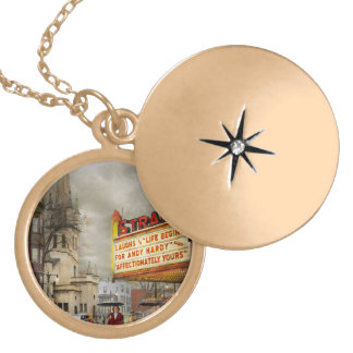 City - Amsterdam NY - Life begins 1941 Gold Plated Necklace