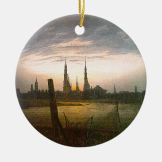 City at Moonrise by Caspar David Friedrich Ceramic Ornament