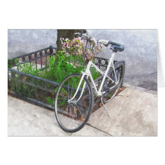 CITY BIKE WITH BASKET COVERED IN FLOWERS NOTE CARD