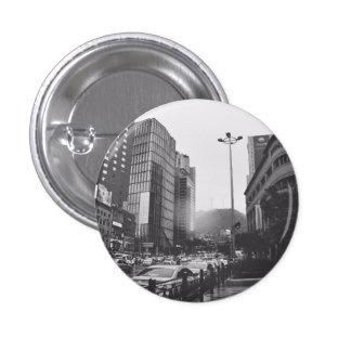 city black white photograpy 3 cm round badge