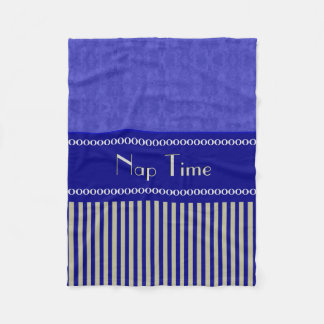 City Blue Abstract Coordinated Stripes Your Text Fleece Blanket