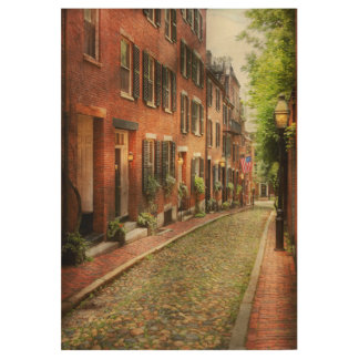 City - Boston MA - Acorn Street Wood Poster