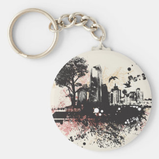 City Buildings Drawing Keychain