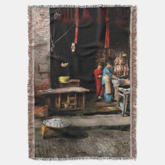 City - California - Fish Alley smells fowl 1886 Throw Blanket