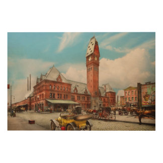 City - Chicago Ill - Dearborn Station 1910 Wood Wall Decor