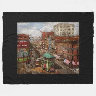 City - Chicago - Piano Row 1907 Fleece Blanket