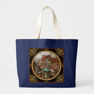 City - Chicago - Piano Row 1907 Large Tote Bag