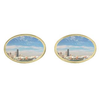 City -  Chicago Skyline & The Navy Pier Gold Finish Cufflinks