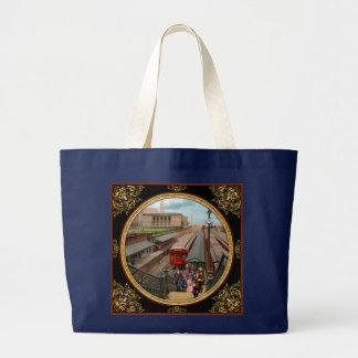 City - Chicago - The Van Buren Street Station 1907 Large Tote Bag