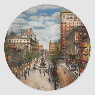 City Cincinnati OH - Tyler Davidson Fountain 1907 Classic Round Sticker