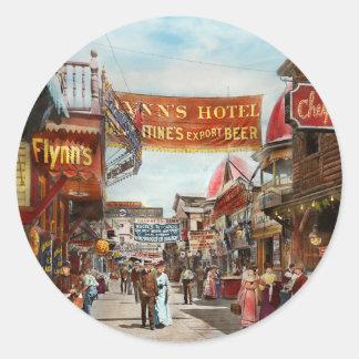 City - Coney Island NY - Bowery Beer 1903 Round Sticker