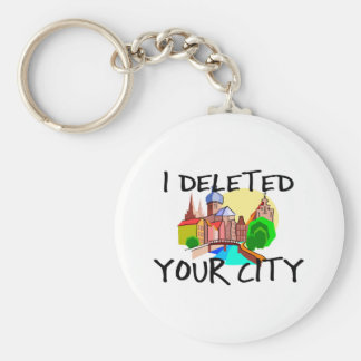City Deleted Basic Round Button Key Ring
