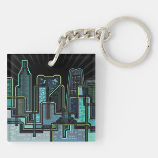 City Double-Sided Square Acrylic Key Ring