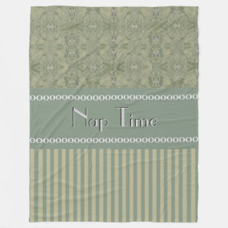 City Green Abstract Coordinated Stripes Your Text Fleece Blanket