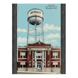 City Hall And Water Tank Humboldt, Tena, Vintage Postcard