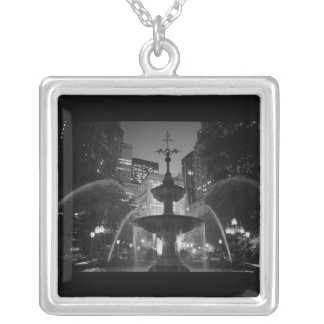 City Hall Fountain Silver Plated Necklace