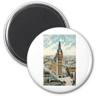 City Hall Milwaukee WI Repro Vintage 1911 6 Cm Round Magnet