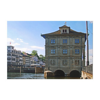 City Hall of Zurich. The banks of the Limmat. Canvas Print