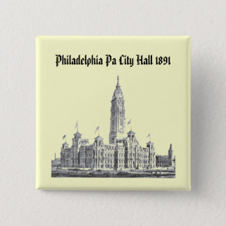 City Hall Philadelphia PA 1891 15 Cm Square Badge