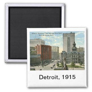 City Hall Square, Detroit MI 1915 Vintage Square Magnet