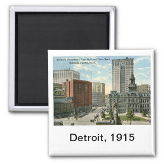 City Hall Square, Detroit MI 1915 Vintage Square Magnet