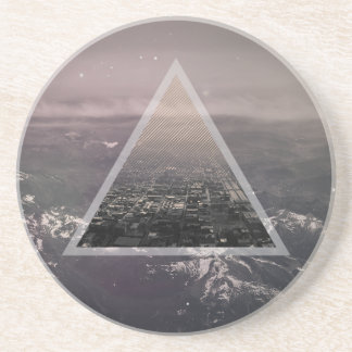 City in a triangle beverage coasters