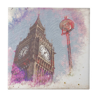 City in Nebula #purple Ceramic Tile
