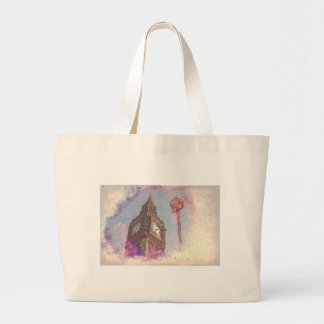 City in Nebula #purple Large Tote Bag
