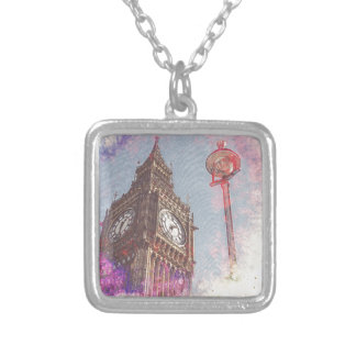 City in Nebula #purple Silver Plated Necklace