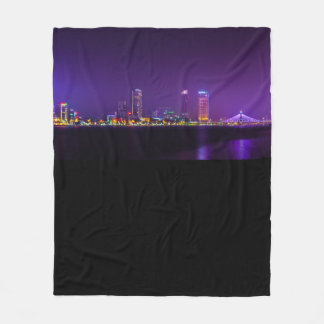 City in the ocean fleece blanket