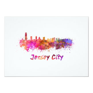 City jersey skyline in watercolor card
