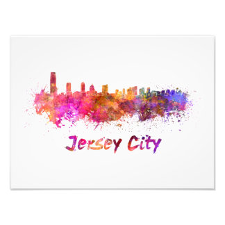 City jersey skyline in watercolor photo print