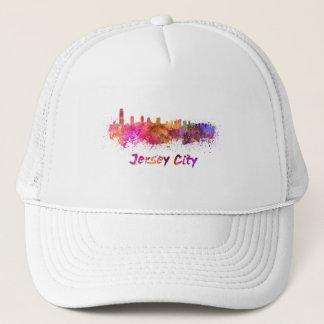 City jersey skyline in watercolor trucker hat