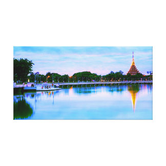 City Lake Twilight View Canvas Print